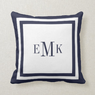 Navy and White Preppy Ribbon Dots Custom Monogram Cushion
