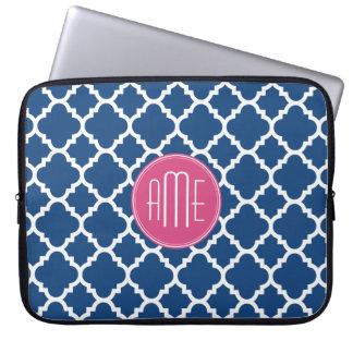 Navy and White Quatrefoil Pattern Custom Monogram Laptop Sleeve