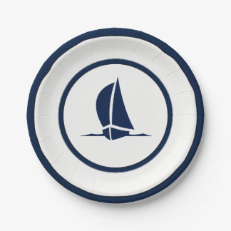 Navy and White Sailboat Paper Plate