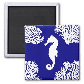 Navy And White Seahorse Coastal Pattern Magnet