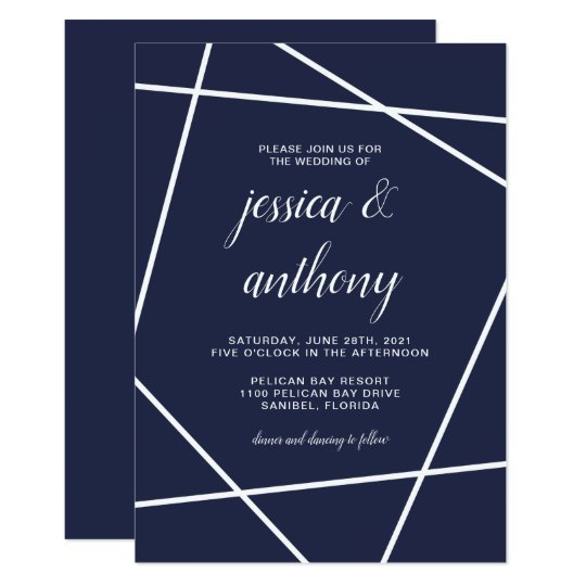 Navy and White Simple Geometric Wedding Card