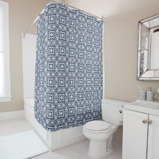 Navy and White Spanish Tile Pattern Shower Curtain