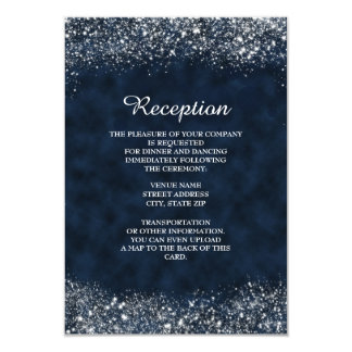 Navy and White Stardust Reception Invitation