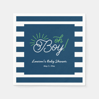Navy and White Striped Baby Shower Napkins Disposable Napkin