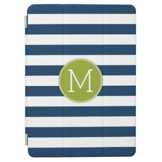 Navy and White Striped Pattern Green Monogram iPad Air Cover