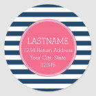Navy and White Striped Pattern Hot Pink Monogram Classic Round Sticker