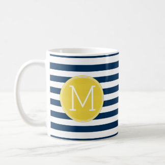 Navy and White Striped Pattern Yellow Monogram Coffee Mug