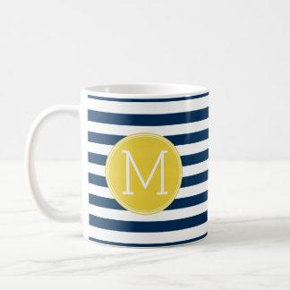 Navy and White Striped Pattern Yellow Monogram Coffee Mug
