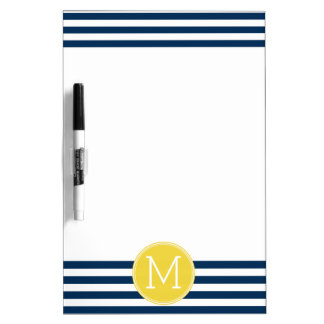 Navy and White Striped Pattern Yellow Monogram Dry Erase Whiteboards