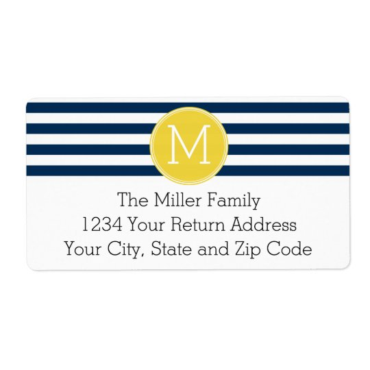 Navy and White Striped Pattern Yellow Monogram Shipping Label