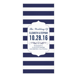 Navy and white stripes chic wedding programs rack card