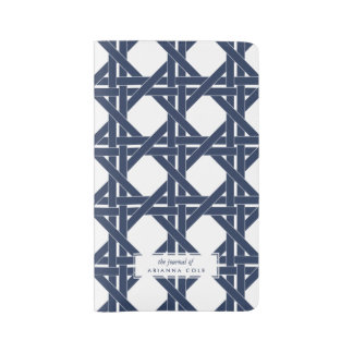 Navy and White Summer Rattan Basketweave Pattern Large Moleskine Notebook