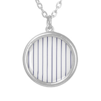 Navy and White Ticking Silver Plated Necklace