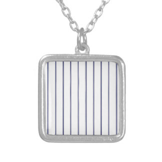 Navy and White Ticking Square Pendant Necklace