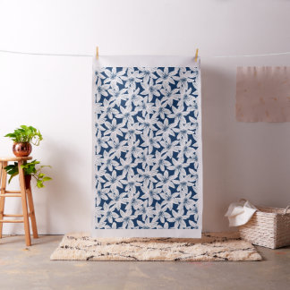 Navy and white tropical hibiscus fabric