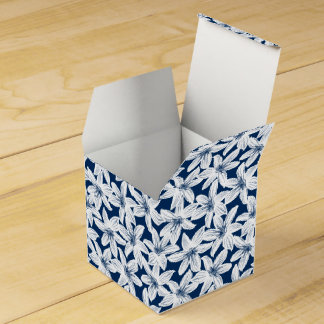 Navy and white tropical hibiscus favour box