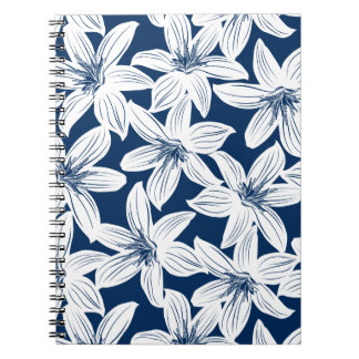 Navy and white tropical hibiscus notebook
