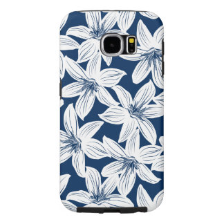 Navy and white tropical hibiscus samsung galaxy s6 cases