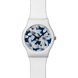 Navy and white tropical hibiscus wristwatches