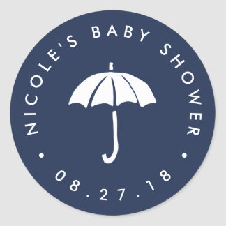 Navy and White Umbrella Baby Shower Classic Round Sticker