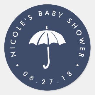 Navy and White Umbrella Baby Shower Round Sticker