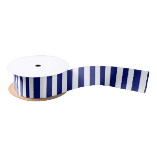 Navy and White Vertical Stripes Satin Ribbon