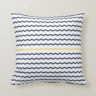 Navy and Yellow Chevron Cushion