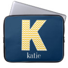 Navy and Yellow Chevrons Huge Monogram Letter K Laptop Sleeve