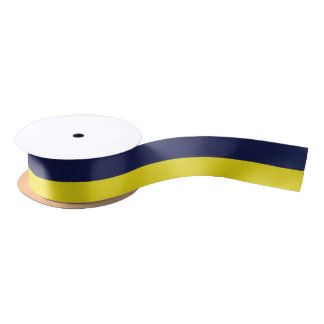 Navy and Yellow-Corn Striped Satin Ribbon