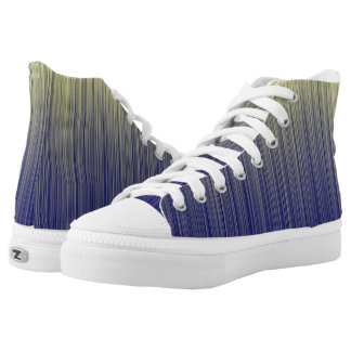 Navy and Yellow Gradient Line Pattern High Tops