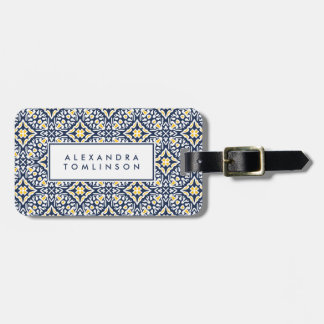 Navy and Yellow Mediterranean Pattern Luggage Tag