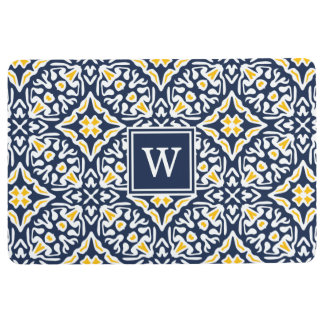 Navy and Yellow Mediterranean Pattern Monogram Floor Mat