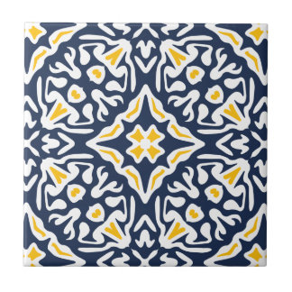 Navy and Yellow Mediterranean Pattern Small Square Tile