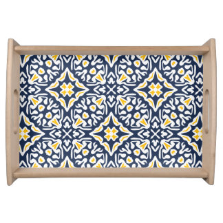 Navy and Yellow Mediterranean Tile Pattern Serving Tray
