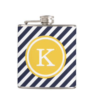 Navy and Yellow Nautical Stripes Monogram Hip Flask