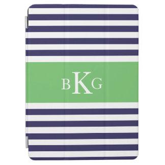 Navy Apple Green Stripes Custom Monogram iPad Air Cover