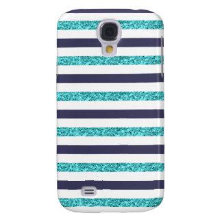 Navy Aqua Faux Glitter Striped Samsung Galaxy S4 Samsung Galaxy S4 Case
