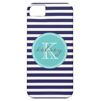 Navy & Aqua Skinny Stripes with Custom Monogram Case For The iPhone 5