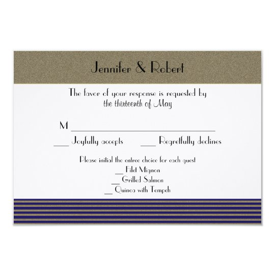 Navy Art Deco Posh Wedding Response Card