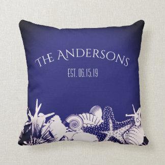 Navy Artsy Seashells Beach Home Personalized Throw Pillow