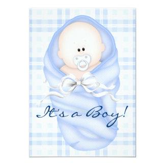 Navy Baby Blue Gingham Baby Boy Shower Invitations