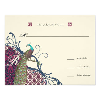 Navy & Berry Berry Elegant Damask Peacock Wedding Card