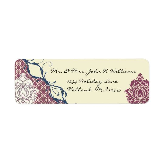 Navy & Berry Berry Elegant Damask Peacock Wedding Return Address Label