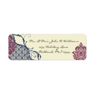 Navy & Berry Berry Elegant Damask Peacock Wedding Return Address Label