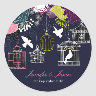 Navy birdcage bird cage doves wedding favor favors classic round sticker