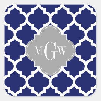 Navy Blu White Moroccan #5 Gray 3 Initial Monogram Stickers