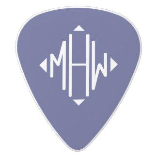 Navy Blue 3 Initials Diamond Shape Monogram White Delrin Guitar Pick