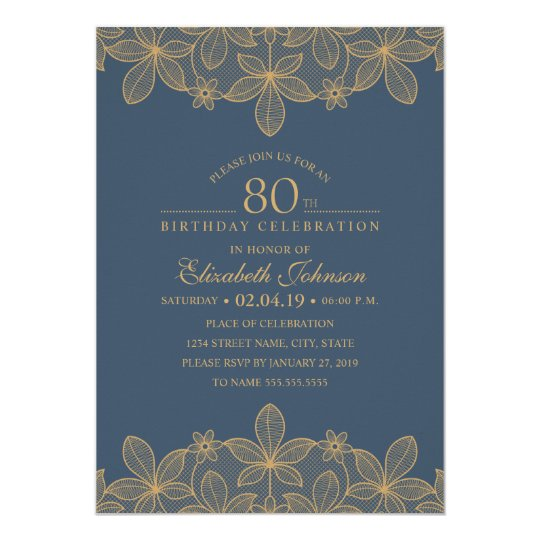 Navy Blue 80th Birthday Party Unique Golden Lace Card