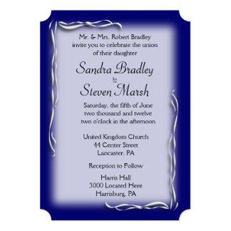 Navy Blue Accent Wedding Invitation