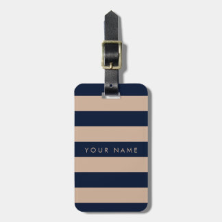 Navy Blue & Almond Striped Personalized Bag Tag